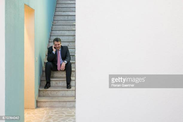 German Foreign Minister and Vice Chancellor Sigmar Gabriel makes a call at the German Embassy in April 19 2017 in Baghdad Iraq Gabriel travels Kuwait...
