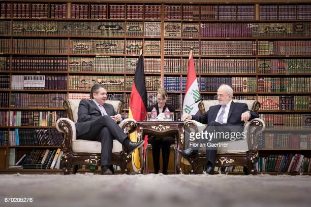 German Foreign Minister and Vice Chancellor Sigmar Gabriel meets Ibrahim Al-Dschafari, Foreign Minister of Iraq, on April 19, 2017 in Baghdad, Iraq....