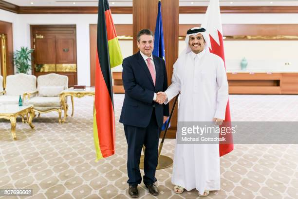 German Foreign Minister and Vice Chancellor Sigmar Gabriel meets Quatars foreign minister Sheik Mohammed bin Abdulrahman alThani during his visit to...