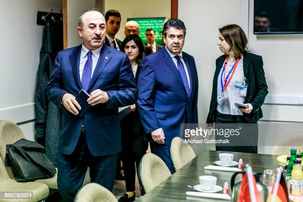 German Foreign Minister and Vice Chancellor Sigmar Gabriel meets Mevlut Cavusoglu Turkish Foreign Minister for a bilateral meeting at Nato...