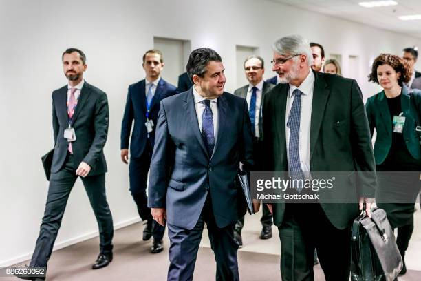 German Foreign Minister and Vice Chancellor Sigmar Gabriel meets Witold Waszczykowski Polands Foreign Minister for a bilateral meeting at Nato...