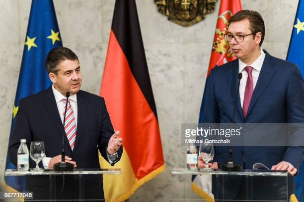 German Foreign Minister and Vice Chancellor Sigmar Gabriel meets with Prime Minister of Serbia Aleksandar Vucic during his visit to Serbia on April...