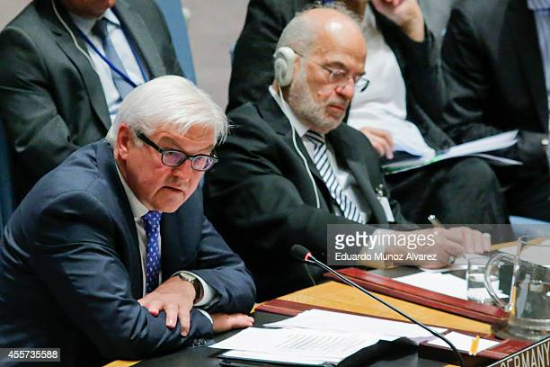 German Foreign Minister FrankWalter Steinmeier addresses to the United Nations Security Council next to Iraqi Foreign Minister Ibrahim alJaafari...