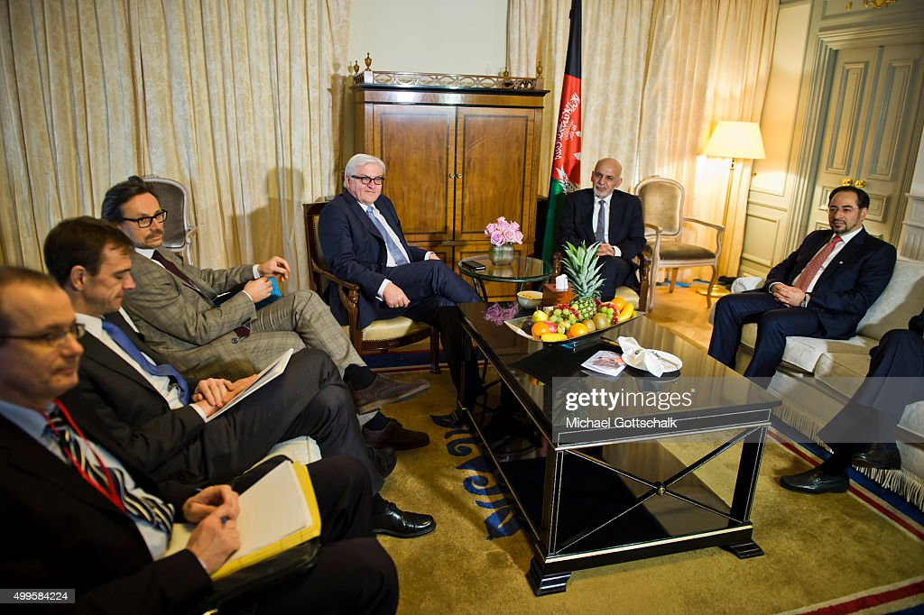 German Foreign Minister Frank-Walter Steinmeier (4th L) and Ashraf Ghani (2ndR), President of Afghanistan, meet for bilateral talks in Hotel Adlon on December 02, 2015 in Berlin, Germany.