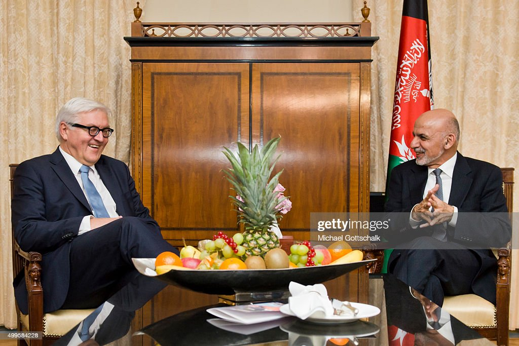 German Foreign Minister Frank-Walter Steinmeier (L) and Ashraf Ghani, President of Afghanistan, meet for bilateral talks in Hotel Adlon on December 02, 2015 in Berlin, Germany.