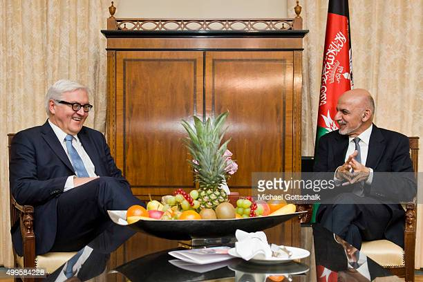 German Foreign Minister FrankWalter Steinmeier and Ashraf Ghani President of Afghanistan meet for bilateral talks in Hotel Adlon on December 02 2015...
