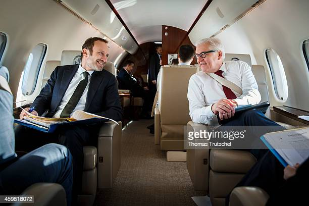 German Foreign Minister FrankWalter Steinmeier and Denmark's Foreign Minister Martin Lidegaard sits in an Global 5000 Airplane of German Air Force to...