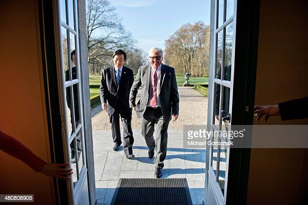 German Foreign Minister FrankWalter Steinmeier and Foreign Minister of South Korea Yun ByungSe meet at the German Foreign Office's guesthouse Villa...