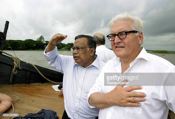 German Foreign Minister FrankWalter Steinmeier and Foreign Minister of Bangladesh Abul Hasan Mahmud Ali on a boat trip on the Bangshi River on...
