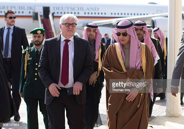 German Foreign Minister Frank-Walter Steinmeier and Foreign Minister of Saudi-Arabia, Adel bin Ahmed Al-Jubeir, meet at the airport on February 03,...