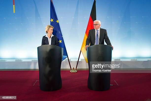 German Foreign Minister FrankWalter Steinmeier and German Defense Minister Ursula von der Leyen attend a joint press statement in foreign office...