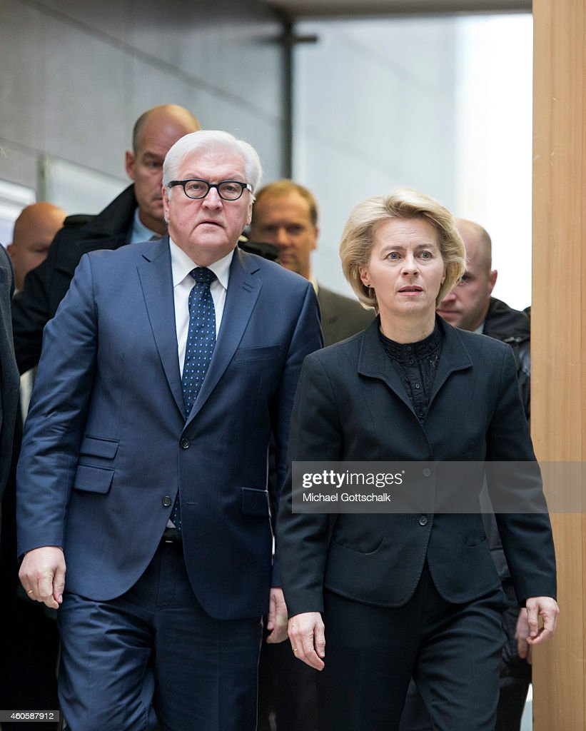 German Foreign Minister Frank-Walter Steinmeier (L) and German Defense Minister Ursula von der Leyen arrive for a press statement on the subject of Germany's plans for a training mission of German army bundeswehr in Iraq on December 17, 2014 in Berlin, Germany.