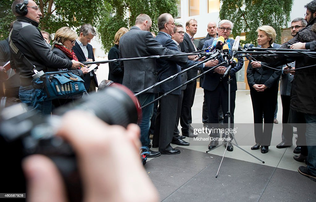 German Foreign Minister Frank-Walter Steinmeier (L) and German Defense Minister Ursula von der Leyen attend a press statement on the subject of Germany's plans for a training mission of German army bundeswehr in Iraq on December 17, 2014 in Berlin, Germany.