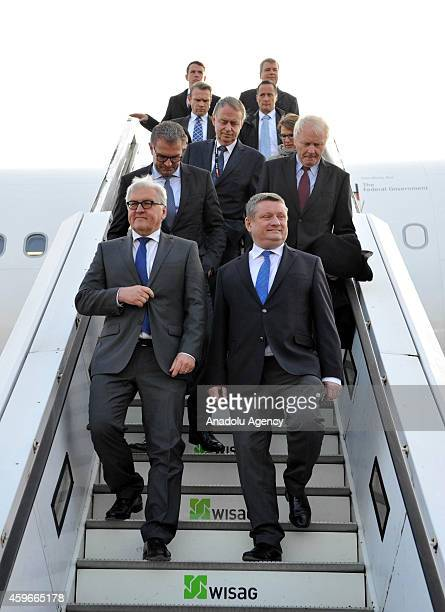 German Foreign Minister FrankWalter Steinmeier and German Health Minister Hermann Groehe visit the Airbus A340300 plane called Robert Koch containing...