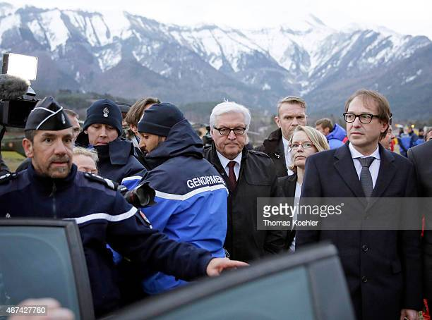 German Foreign Minister FrankWalter Steinmeier and German Transport Minister Alexander Dobrindt at the situation centre in Seyne Les Alpes on March...
