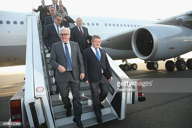 German Foreign Minister FrankWalter Steinmeier and Health Minister Hermann Groehe finish viewing a retrofitted Lufthansa plane equipped with medical...