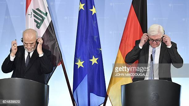 German Foreign Minister Frank-Walter Steinmeier and his Iraqi counterpart Ibrahim al-Jaafari attend a press conference in Berlin, on November 21,...