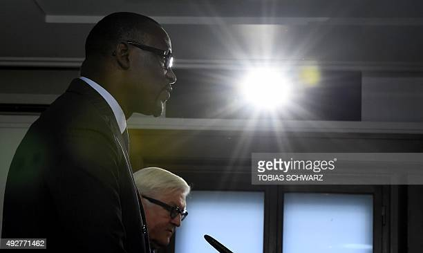 German Foreign Minister FrankWalter Steinmeier and Malian Foreign Affairs Minister Abdoulaye Diop address the media after talks in Berlin on October...