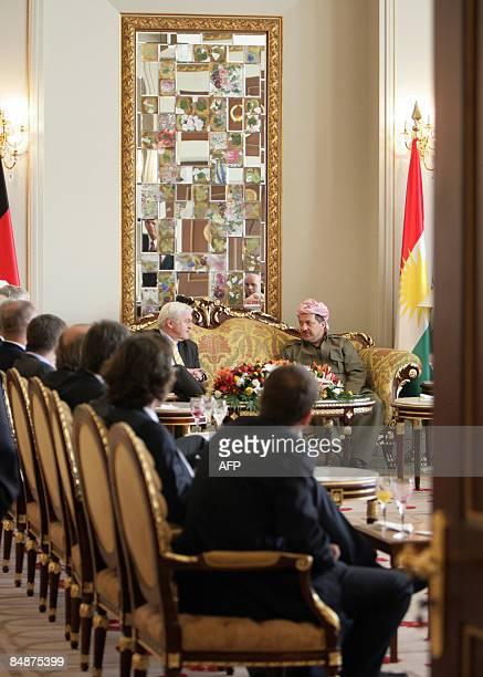 German Foreign Minister FrankWalter Steinmeier and Masoud Masoud Barzani President of the Autonomous Kurdish Government in Iraq meet in Arbil...