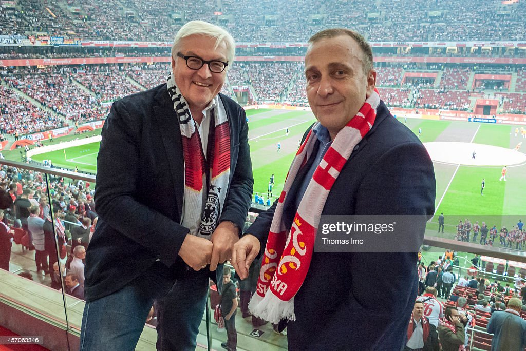 German Foreign Minister Frank-Walter Steinmeier and Polish Foreign Minister Grzegorz Schetyna visiting EURO 2016 Group D qualifying match between Poland and Germany at Narodowy Stadium on October 11, 2014 in Warsaw, Poland..