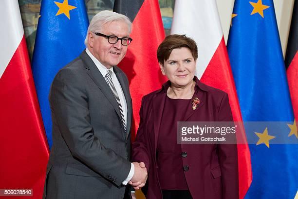 German Foreign Minister FrankWalter Steinmeier and Polish Prime Minister Beata Szydlo meet during Steinmeiers visit to the Polish Government on...