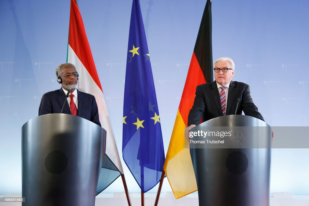 German Foreign Minister Frank-Walter Steinmeier (R) and Sudanese Foreign Minister Ali Ahmed Karti speaks to the media after their meeting on June 04, 2014 in Berlin, Germany.