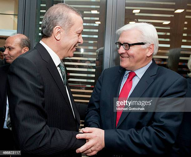 German Foreign Minister FrankWalter Steinmeier and Turkish Prime Minister Recep Tayyip Erdogan meet in the Turkish embassy on February 04 2014 in...