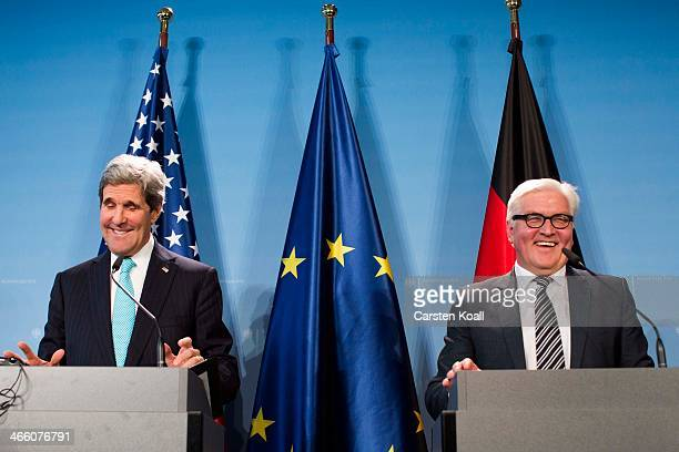 German Foreign Minister FrankWalter Steinmeier and United States counterpart Secretary of State John Kerry address a press conference on January 31...