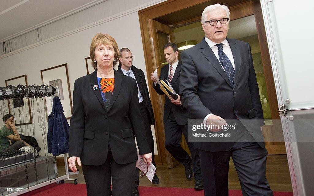 German Foreign Minister Steinmeier Meets High Representative Lady Ashton