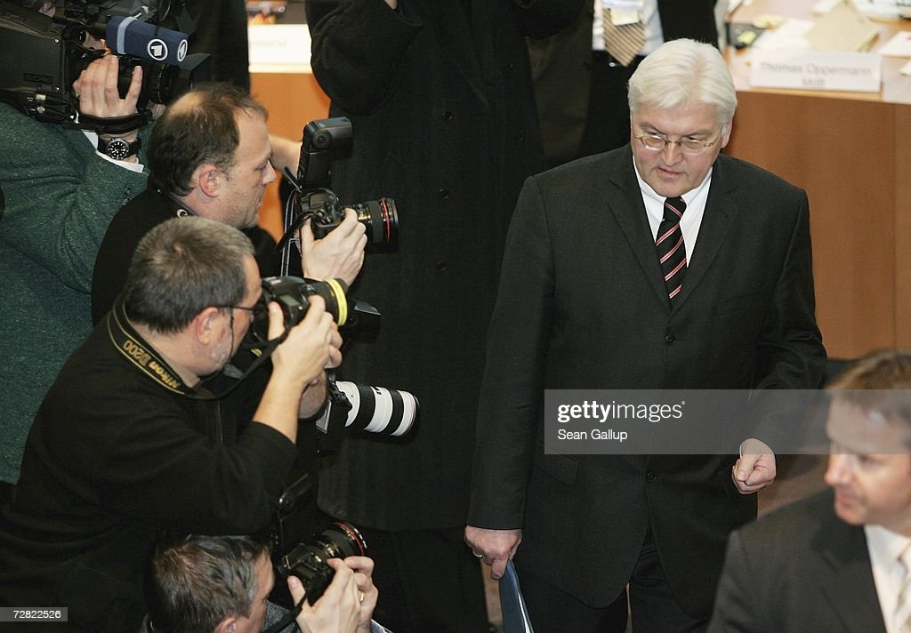German Foreign Minister Frank-Walter Steinmeier (R) arrives to testify at a session of parliamentary hearings into the case of Khalid El-Masri, a German citizen kidnnapped by the CIA, at the Bundestag December 14, 2006 in Berlin, Germany. El Masri was detained by the CIA in 2004 and held for several months at a prison for terrorists in Afghanistan, before being released following confirmation that he was not in fact the person the CIA had originally thought. The hearings now in Berlin are focusing on whether German officials at the time knew of or had a role in El Masri's detention.