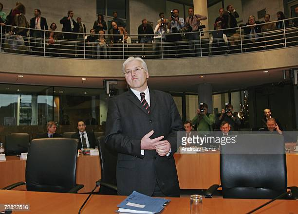 German Foreign Minister Frank-Walter Steinmeier attends the opening session of Bundestag hearings at Maria-Elisabeth-Lueders House on December 14,...
