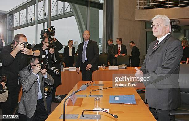 German Foreign Minister FrankWalter Steinmeier attends the opening session of Bundestag hearings at MariaElisabethLueders House on December 14 2006...