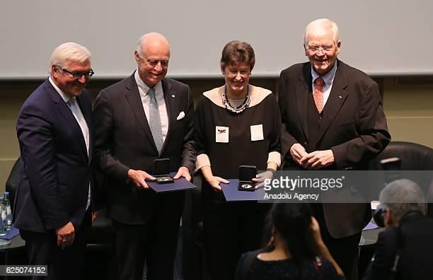 German Foreign Minister FrankWalter Steinmeier delivers 'DagHammarskjold' medal of honor to UN Special Envoy to Syria Staffan de Mistura in Berlin...
