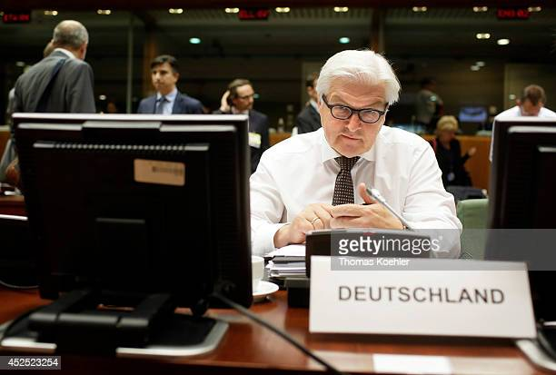 German Foreign Minister FrankWalter Steinmeier during a meeting of the EU Foreign Ministers on July 22 2014 in Brussels Belgium Steinmeier will also...