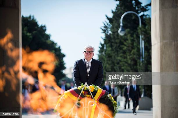 German Foreign Minister Frank-Walter Steinmeier during a wreath laying ceremony at martyrs' lane on June 30, 2016 in Baku, Azerbaijan. He visits the...