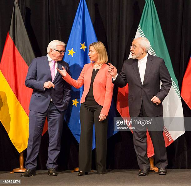 German Foreign Minister FrankWalter Steinmeier EU High Representative for Foreign Affairs and Security Policy Federica Mogherini and Foreign Minister...