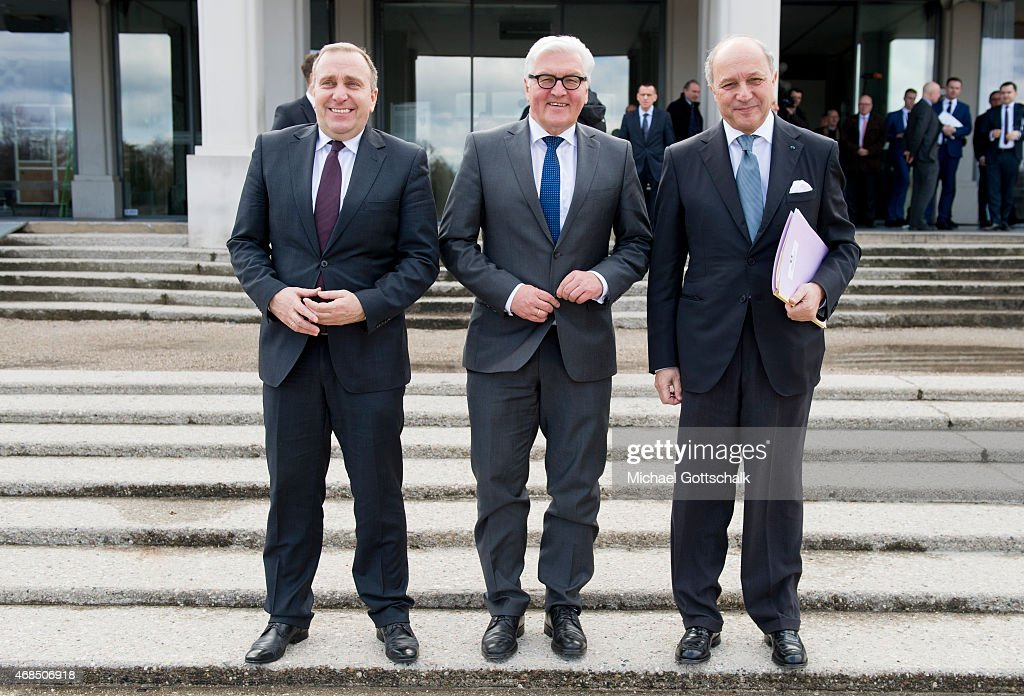German Foreign Minister Frank-Walter Steinmeier French Foreign Minister Laurent Fabius and Foreign Minister of Poland Grzegorz Schetyna meet in Weimarer Dreieck format in Jahrhunderthalle (Century Hall) on April 03, 2015 in Wroclaw, Poland. The Foreign Ministers are meeting to discuss the situation in Ukraine and policies towards Russia.