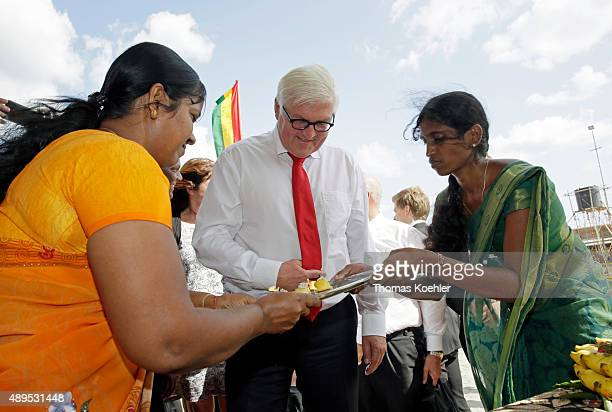 German Foreign Minister FrankWalter Steinmeier gets a hindi welcome ceremony during the opening ceremony of Sri Lanka German Training Institute SLGTI...
