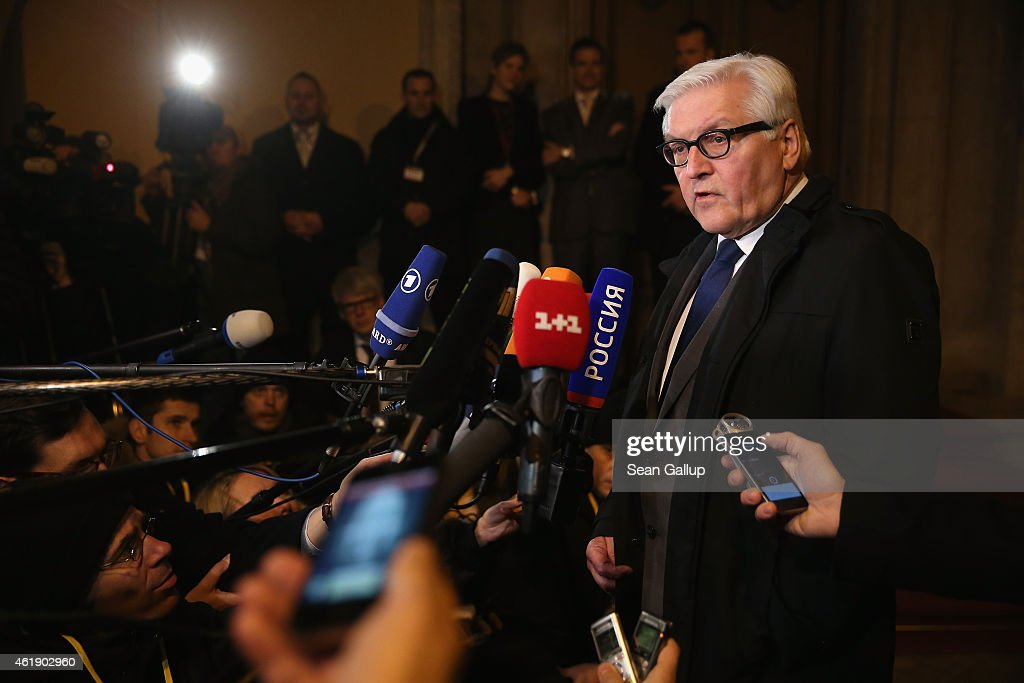 German Foreign Minister Frank-Walter Steinmeier gives statements to the media prior to meeting with Russian Foreign Minister Sergey Lavrov, Ukrainian Foreign Minister Pavlo Klimkin and French Foreign Minister Laurent Fabius to discuss the ongoing conflict in eastern Ukraine at Villa Borsig on January 21, 2015 in Berlin, Germany. The four men are meeting as fighting between the Ukrainian Army and Russian-backed separatists in the Donbas region of eastern Ukraine has increased in the last few weeks.