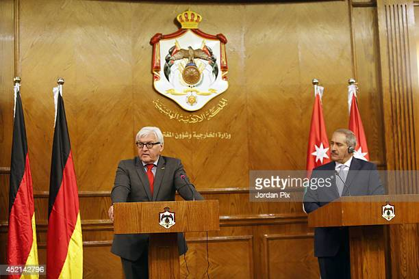 German foreign minister FrankWalter Steinmeier holds a press conference with his Jordanian counterpart Nasser Joudeh on July 14 2014 in Amman Jordan...