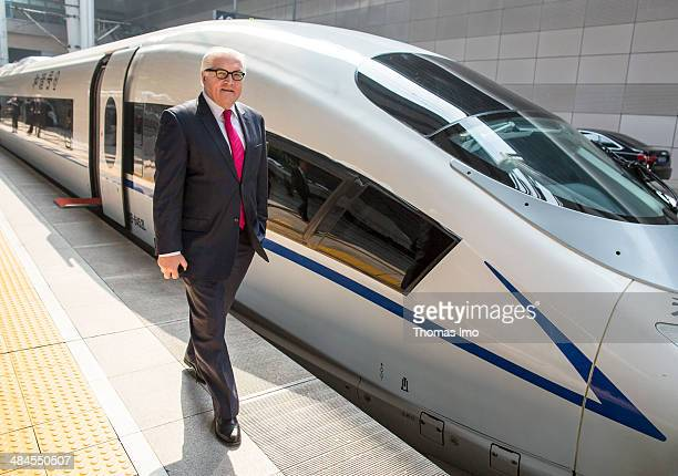 German Foreign Minister FrankWalter Steinmeier in front of a G79 train prior to his trip on a Chinese high speed train G79 from Bejing to...