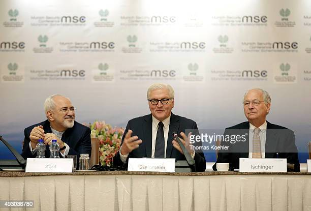 German Foreign Minister FrankWalter Steinmeier joins the Core Group Meeting Tehran with Foreign Minister of Iran Mohammad Javad Zarif and Wolfgang...