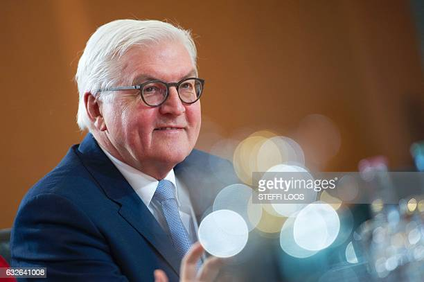 German Foreign Minister FrankWalter Steinmeier looks on prior to the German government's weekly cabinet meeting at the Chancellery in Berlin on...