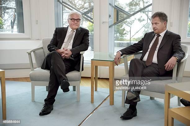 German Foreign Minister FrankWalter Steinmeier meets Finnish President Sauli Niinisto at the Presidential residence Mantyniemi in Helsinki Finland on...