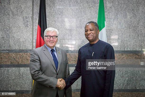 German Foreign Minister Frank-Walter Steinmeier meets Geoffrey Onyeama , Foreign Minister of Nigeria on October 10, 2016 in Abuja, Nigeria....