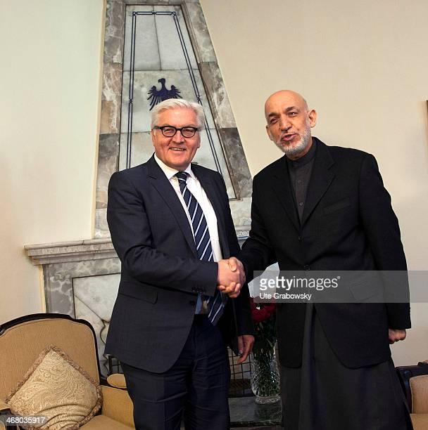 German Foreign Minister FrankWalter Steinmeier meets Hamid Karzai President of Afghanistan on February 9 in Kabul Afghanistan Steinmeier is on a...