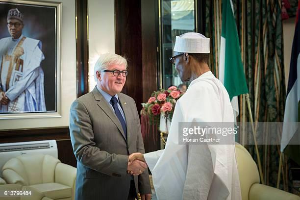 German Foreign Minister FrankWalter Steinmeier meets Muhammadu Buhari President of Nigeria on October 10 2016 in Abuja Nigeria Steinmeier is in...