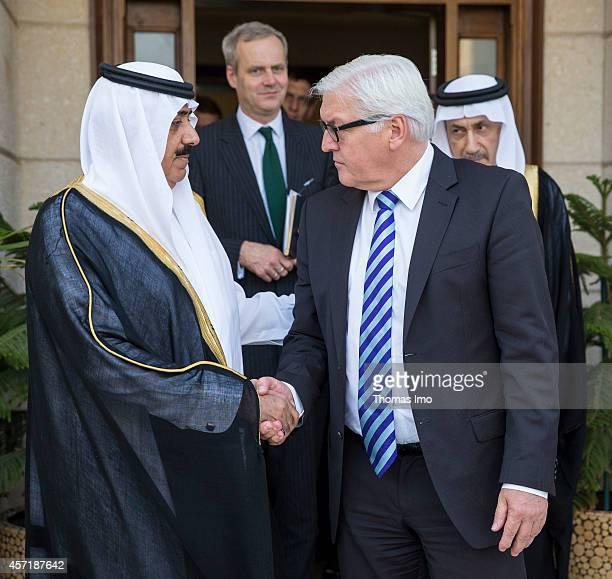 German Foreign Minister FrankWalter Steinmeier meets Mutaib bin Abdullah bin Abdulaziz Al Saud Saudi Arabia's Minister of the National Guard in...