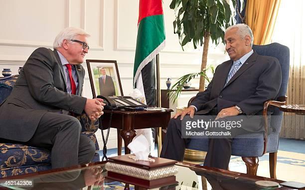German Foreign Minister FrankWalter Steinmeier meets Prime Minister of Jordan Abdallah Ensour on July 14 2014 in Amman Jordan Steinmeier travels to...