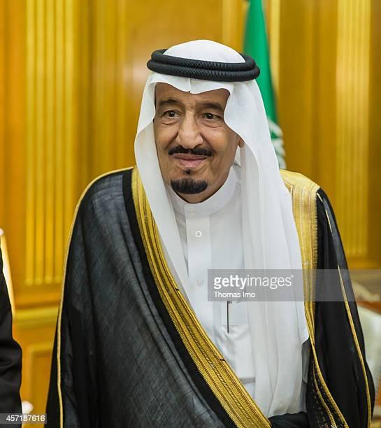 German Foreign Minister FrankWalter Steinmeier meets Saudi Crown Prince and defense minister Salman bin Abdulaziz alSaud in Jeddah on October 13 2014...